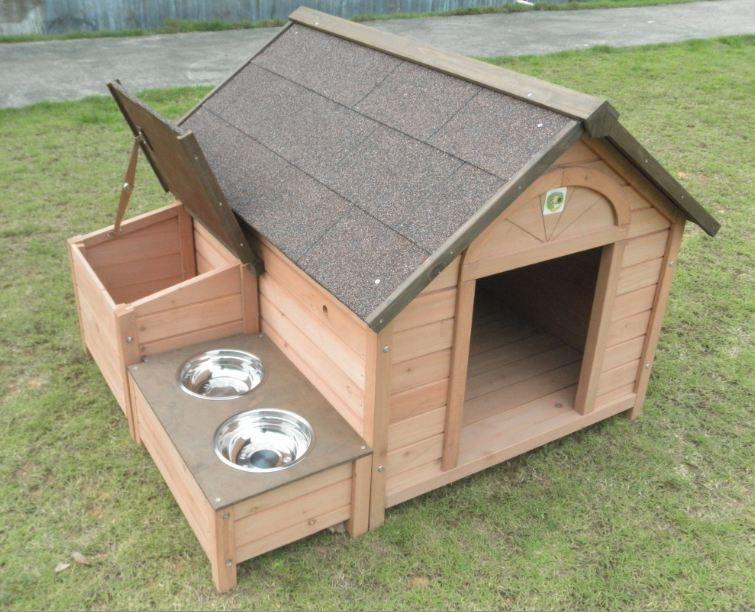 caseta de perro con techo remobible