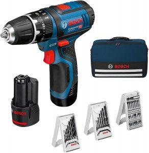 Taladro atornillador y percutor de la reconocida marca bosch, color azul con negro