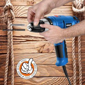Taladro atornillador HERZO con cable y portabrocas automatico