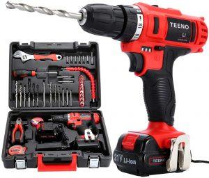 Taladro marca Teeno color rojo con maletin de accesorios